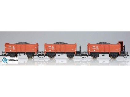 TT - set tří vozů ČSD na uhlí s nákladem / PMT 65195