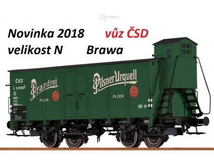 "VYPRODÁNO! N - pivovarský vůz s budkou ČSD ""Pilsener Urquell""/ Brawa 67462"