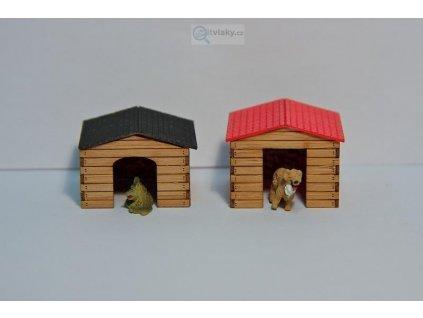H0 - dvě boudy pro psa - LASERCRAFT / Krois Modell 72-701
