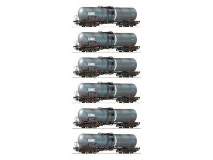 H0 - set  6 cisterových vozů s patinou , GATX / ROCO 75972