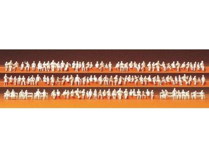 N - Velká sada sedících nebarvených figurek, 120 ks / Preiser 79007