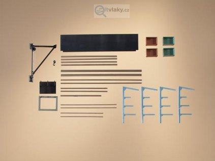 H0  - venkovní sklad tyčového materiálu, nástěnný jeřáb / Auhagen 80107
