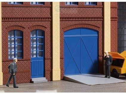 H0 - Brány a dveře modré, schody, rampy / Auhagen 80255