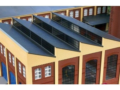H0 - Šedá střecha se žlutými štíty / Auhagen 80309