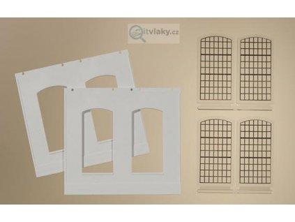 H0 -  Stěna 2326D 2ks, průmyslová okna E 4ks / Auhagen 80703