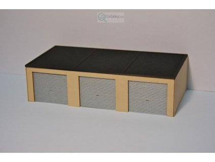 H0 - třídveřová garáž - LASERCRAFT / Krois Modell 82-022