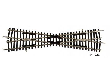 TT - kolejové křížení K1 166 mm 15°  kovová srdcovka / TILLIG 83161