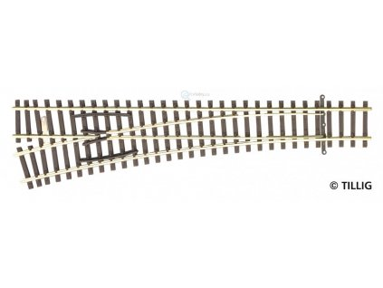 TT - Výhybka levá, EW2, 15°, R 631, d. 166 mm / TILLIG 83332