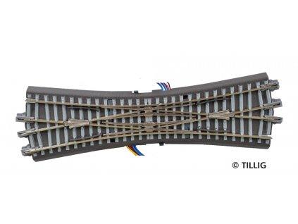 TT - DCC DKW - křižovatková výhybka s šedým podložím s el. pohonem / Tillig 83790