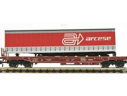 """VYPRODÁNO N - plošinový vůz ložený přívěsem """"arcese"""" FS / Fleischmann 845302"""