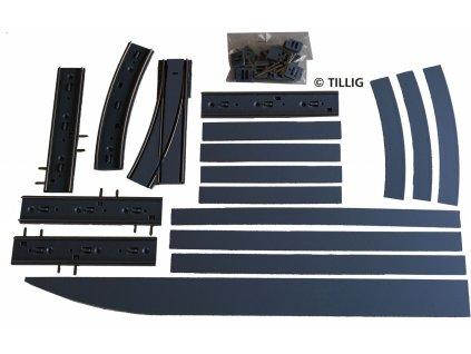 H0 -  Kolejové rozdvojení pravé - asfalt / beton / Tillig 87617