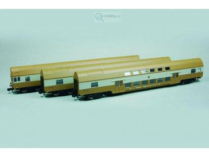 N - 3-dílný set patrových vozů Dbmq +Dbmu DR / KUEHN 91020