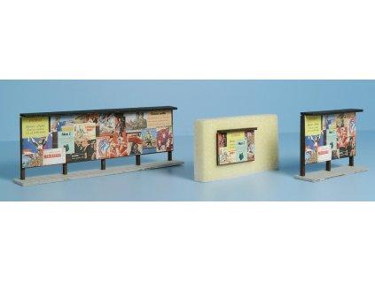 H0 - Dřevěné plakátovací plochy tm. hnědé - set / Veramo 070103