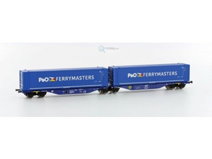 AKCE! TT - dvojitý plošinový vůz Sggmrs 90 s 2x45' kontejnerem/HobbyTrain H70507 EPV