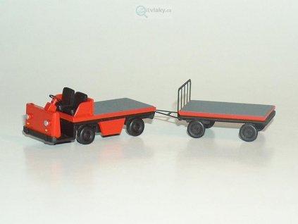 H0 - Plošinový vozík s přívěsem, oranžový / Miniatur MH 05