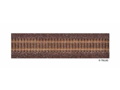 H0 - Štěrkové lože rovné 228 mm tmavé / Tillig 86500