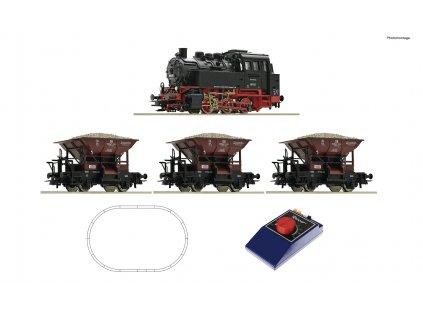 H0 - Analog Start Set: parní lokomotiva BR 80 s nákladním vlakem, DB / Roco 51159