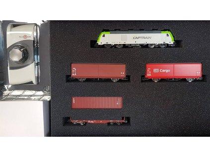 TT - Start Set - lokomotiva TRAXX Captrain, vozy s odkl. střechou a kontejner. DB AG / TILLIG 01448