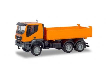 H0 - Iveco Trakker 6x6 Baukipper-LKW, oranžová / Herpa 309998