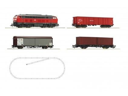 H0 - DCC start set - lokomotiva BR 218 + 3 nákladní vozy, bez ovladače a zdroje / ROCO 51312beov