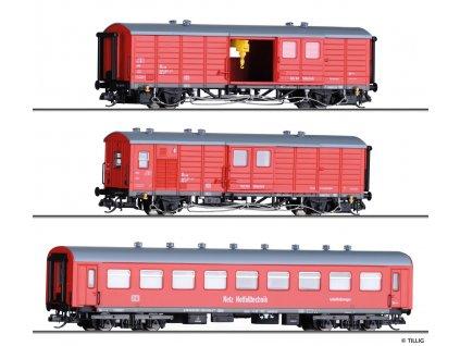 TT - Pomocný vlak DB Netz Notfalltechnik, tři vozy, Ep. VI / Tillig 01006