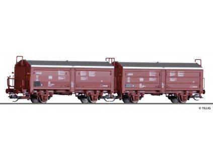 TT - set 2 vozů s posuvnou stěnou a střechou DB, Tims 858, Ep. IV Nová forma / Tillig 01020