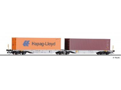 TT - kontejnerový vůz Sggmrs 747   DB  AG,  2x 40'-Container, Ep. V / Tillig 18060