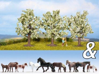 """H0 - Dekorační sada """"Koně a ovocné stromy"""" / NOCH 94003"""