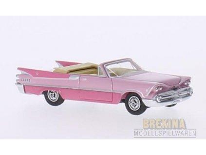 H0 - auto Dodge Custom Royal Lancer Convertible rosa, dunkelrosa, / Brekina BOS87060