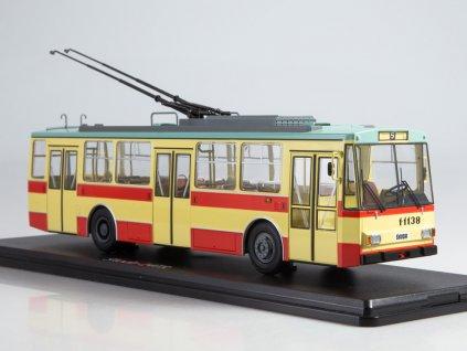 1:43 - trolejbus Škoda 14tr béžový / červený / Herpa 83SSM4042