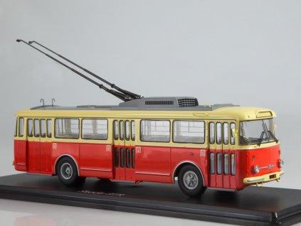 1:43 - trolejbus Škoda 9tr béžový/červený / Herpa 83SSM4044