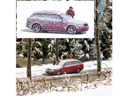 H0 - Akční set - čištění auta od sněhu / Busch 7859