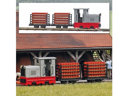 H0/H0f - Start-Set lokomotiva s transportem cihel, koleje, napájení / Busch 12014