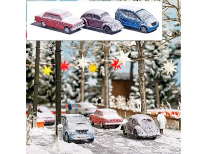 H0 - 3 ks zasněžených automobilů / Busch 89010
