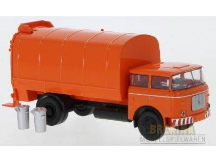 H0 - popelářský vůz LIAZ 706 oranžový 1970 CZ / Brekina 71874