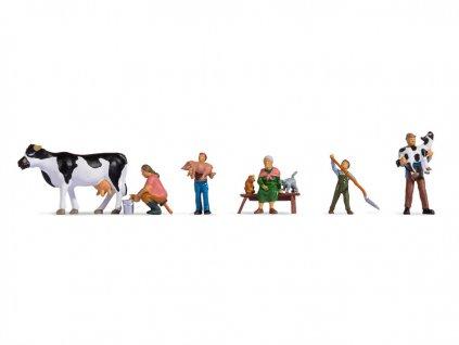 H0 - rodina na farmě, 6 figurek / NOCH 15609