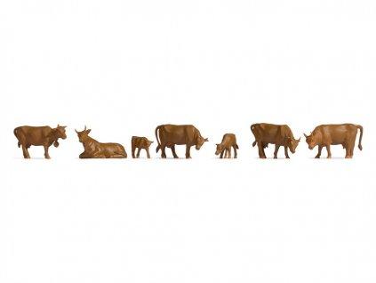 H0 - Hnědé krávy, 7 figurek / NOCH 18216