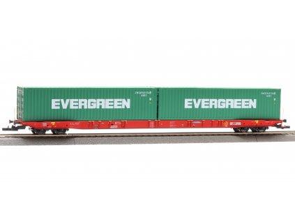 H0 - Plošinový vůz Sggnss RailCargo Operator / SK Nacco + Evergreen  / IGRA model 96010048