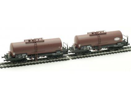 H0 - set 2 kotlových vozů Uahrrs-z, JZ hnědé, ep. IV  / Albert Modell 700001