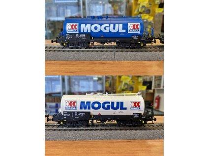"""H0 - set 2 cisternových vozů  CZ-RYKO """"MOGUL""""  Zas, modrá/bílá  / Albert Modell 700002"""
