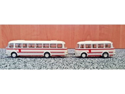 H0 - autobus ZS Jelcz 043 s P-01 přívěsem, béžová/červená, 1964 / Brekina 58264