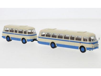 H0 - autobus ZS Jelcz 043 s P-01 přívěsem, béžová/modrá, 1964 / Brekina 58265