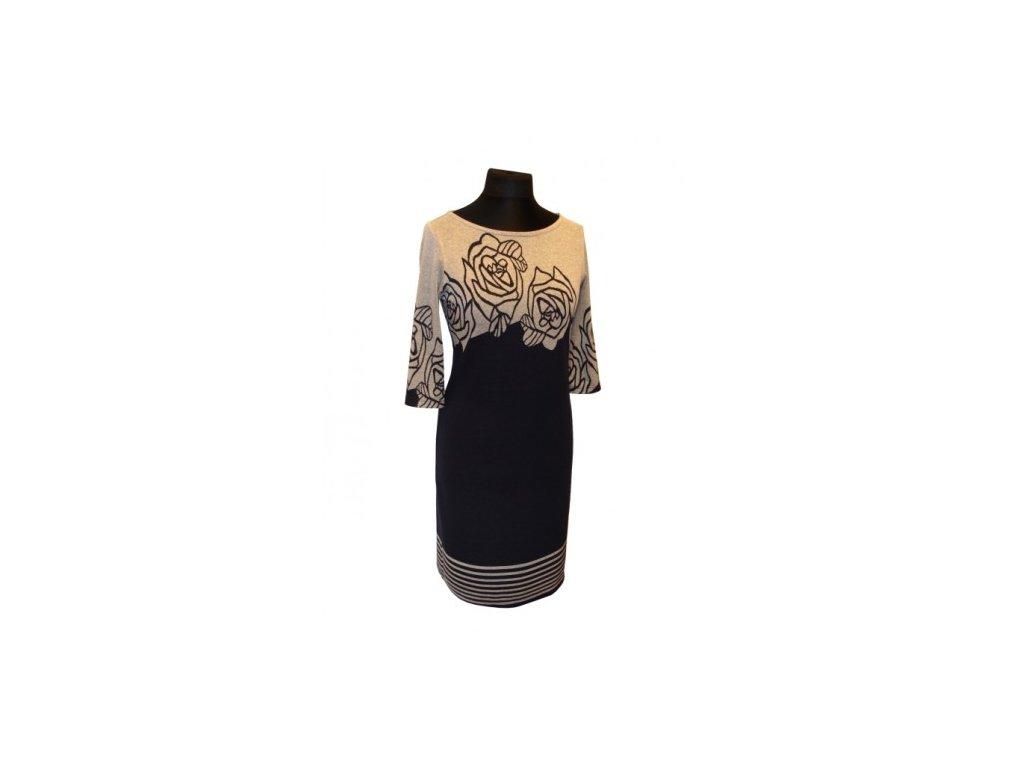 Dámské šaty Wanda modrošedé vel. 52 krátký rukáv