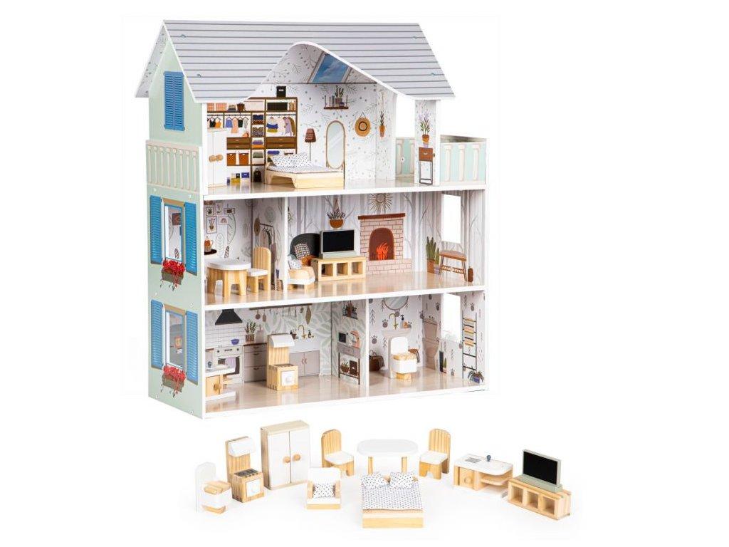 Dětský dřevěný domeček Ecotoys rezidence Emma s příslušenstvím