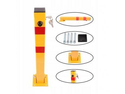 Sklopný parkovací sloupek žlutý na zámek 60 cm SN1807
