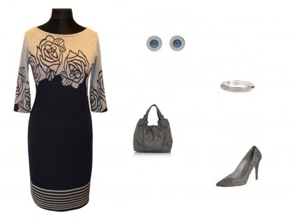 Dámské šaty Wanda modrošedé ve vel. 48