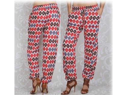 Dámské kalhoty styl harémky červené