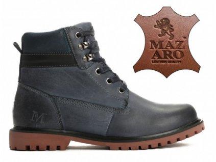 Dámské kotníkové boty zateplené trapery Mazaro SD86-13 námořnická modř