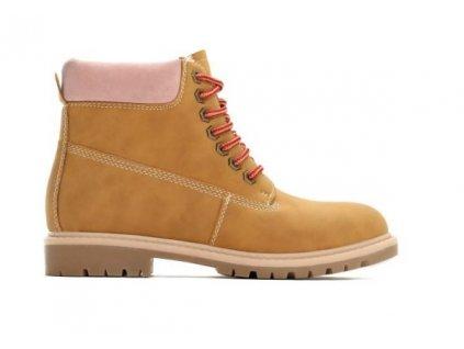 Dámské kotníkové boty trapery Vices Timberki T029-17 velbloudí+růžová