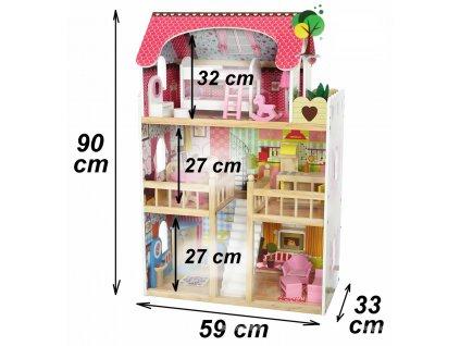 ECOTOYS Dřevěný domeček pro panenky malinový ZA-4109